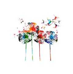 Abstract colorful dandelion background