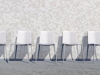 White waiting room - 3D render