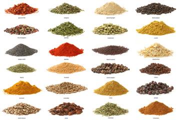 Fototapeta Different spices isolated on white background. Large Image obraz