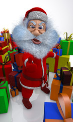 3d render of Santa Claus is content with gifts