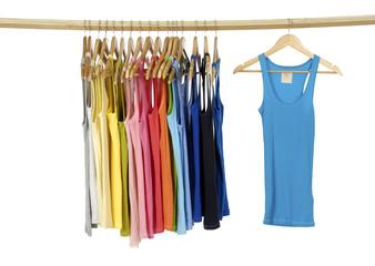 rainbow many peignoir hanging on wooden hangers