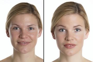 Frauenportrait mit und ohne Make up