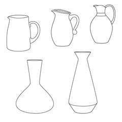 Set of jugs. Vector illustration