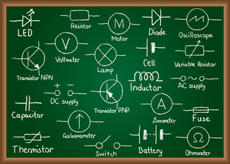 Electrical circuit symbols on chalkboard