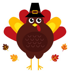 Cute retro thanksgiving turkey with hat isolated on white