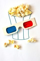 Glass popcorn and 3D glasses.