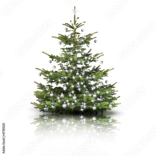 weihnachtsbaum mit silbernen kugeln stockfotos und. Black Bedroom Furniture Sets. Home Design Ideas