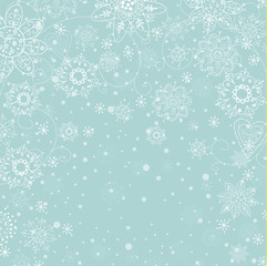 cristmas light blue invitation card with white snowflake