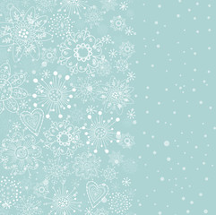 light blue vertical cristmas background with white snowflake