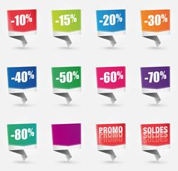 étiquettes de réduction :  promo, solde, soldes