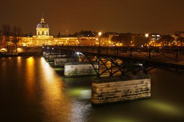 Pariser Seinebrücke Pont des Arts bei Nacht