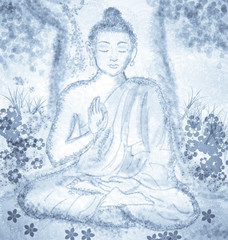 drawing of meditating buddha