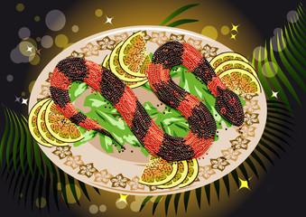 caviar snake with fruits