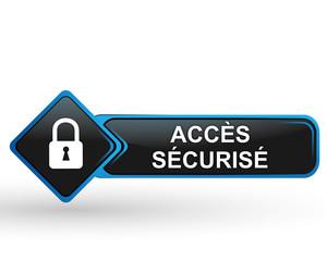 accès sécurisé sur bouton web carré design bleu
