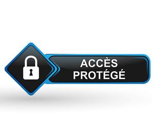 accès protégé sur bouton web carré design bleu