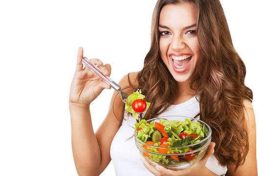 cheerful sexy girl with salad