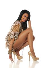Young Black Woman Fashion model posing