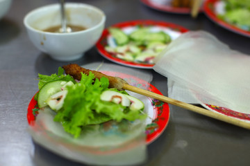 Spring roll rice paper wrapper with vegetables, Vietnam