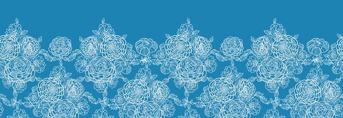 Vector Blue lace flowers elegant horizontal seamless pattern
