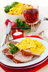 Smoked pork (kassler) served with ribbon pasta