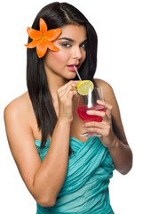 Woman with Tropical Drink