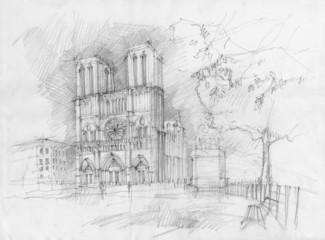 Foto op Canvas Illustratie Parijs Pencil drawing of the historic facade of Notre dame, Paris