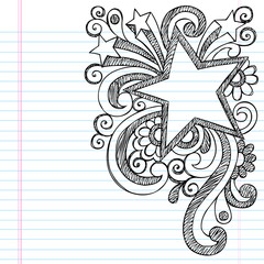 Star Frame Border Sketchy Back to School Doodles
