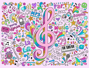Music Notes g Clef Groovy Doodles Vector Illustration