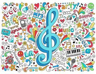 Music G Clef Groovy Doodles Vector Illustration Set