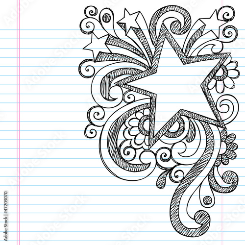 """Star Frame Border Sketchy Back to School Doodles"" Stock ..."