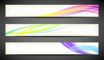 Three abstract colorful banner on dark background.