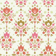 Vector floral damask seamless pattern background with abstract