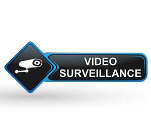 video surveillance sur bouton web carré design bleu