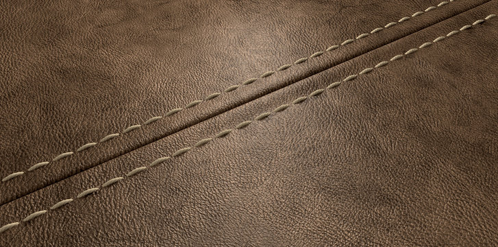 Brown Leather Stitched Seam