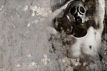 Artistic illustration over rusty wall, man with gas mask