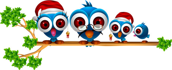 cute chsitmas blue birds family