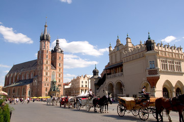 Foto op Canvas Krakau Marienkirche und Tuchhallen - Krakau - Polen