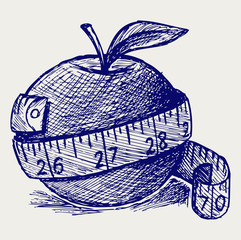 Apple and measure tape. Doodle style
