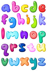 3d bubble lower case alphabet