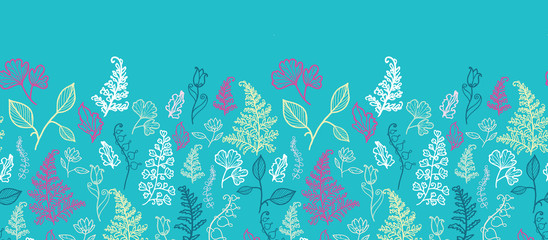 Vector blue leaves horizontal seamless pattern background