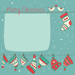 Christmas card with birds, socks and hats turquoise background
