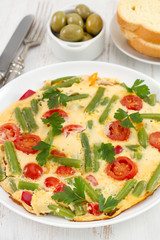 omelet with beans and tomato on the plate
