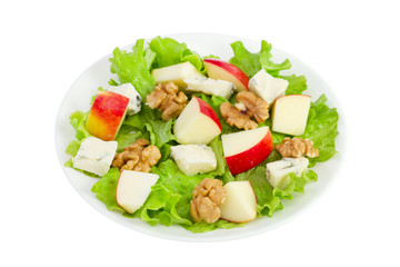 cheese salad with apple and walnut on the plate