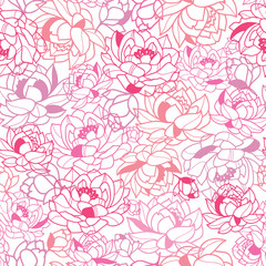 Vector Abstract Pink Flowers Seamless Pattern Background with