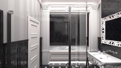 The interior in the bathroom