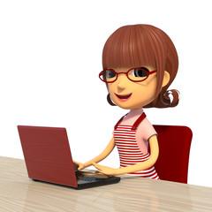 パソコンを使う主婦