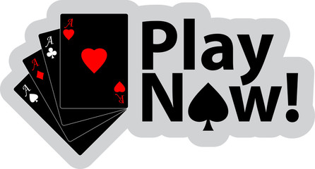 Vector with four playing cards and text - Play now