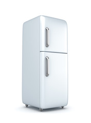 Modern refrigerator over white background