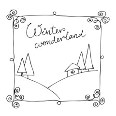 cute illustrated winter background
