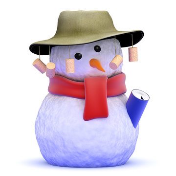 Australian snowman with beer